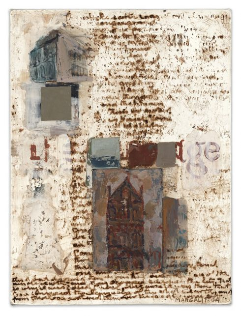 """Age And Babel16 X 12"""" Encaustic Collage And Paint On Canvas 2004"""