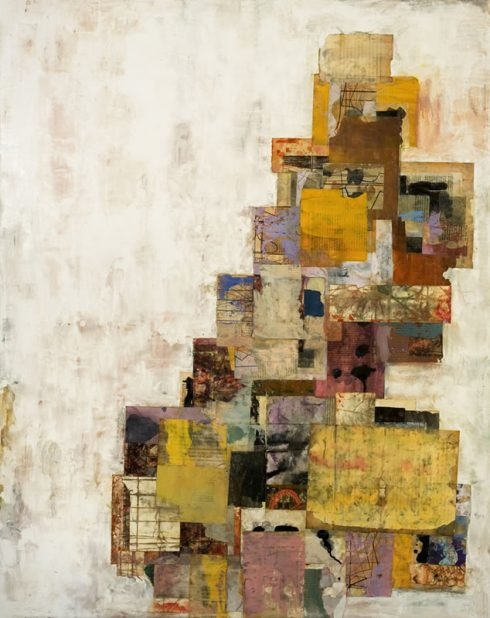 """Babel Rising 48 X 32"""" Encaustic Collage And Paint On Canvas 2007"""