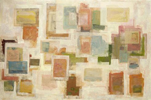 """Beginnings 32 X 48"""" Encaustic Collage And Paint On Canvas 2006"""