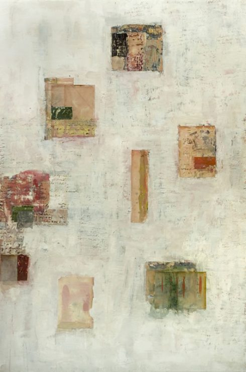 """Circle Dance 48 X 32"""" Encaustic Collage And Paint On Canvas 2006"""