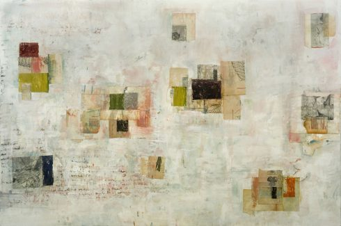 """Echoes 32 X 48"""" Encaustic Collage And Paint On Canvas 2006"""