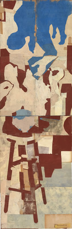 """Figure Drawing 24 X 60"""" Encaustic Collage And Paint On Canvas 2012"""