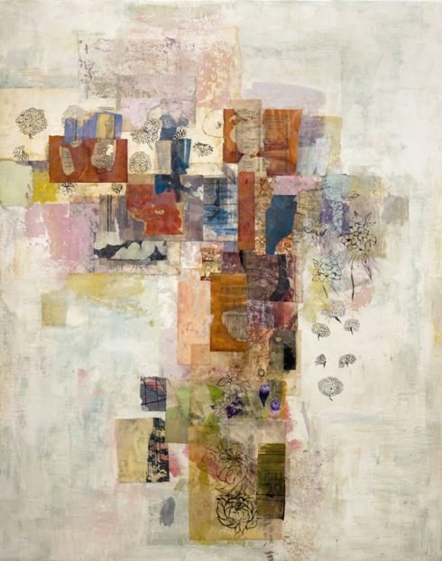"""Flower Reverie 48 X 38"""" Encaustic Collage And Paint On Canvas 2007"""