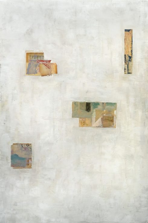 """Four In All 48 X 32"""" Encaustic Collage And Paint On Canvas 2006"""