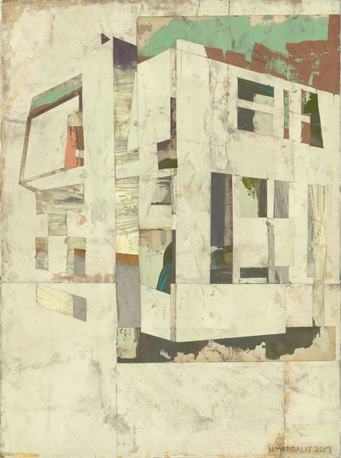 """House II 16 X 12"""" Encaustic Collage And Paint On Canvas 2019"""