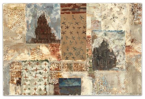 """Landscape16 X 24"""" Encaustic Collage And Paint On Canvas 2004"""
