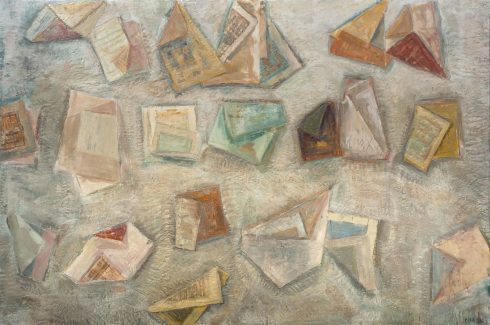 """Letters From Heaven 32 X 48"""" Encaustic Collage And Paint On Canvas 2006"""