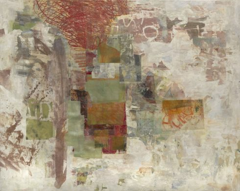 """My Shepherd-Red 38 X 48"""" Encaustic Collage And Paint On Canvas 2009"""
