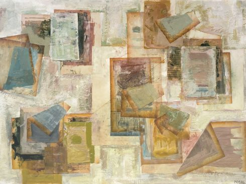 """Page-Painting 24 X 32"""" Encaustic Collage And Paint On Canvas 2006"""