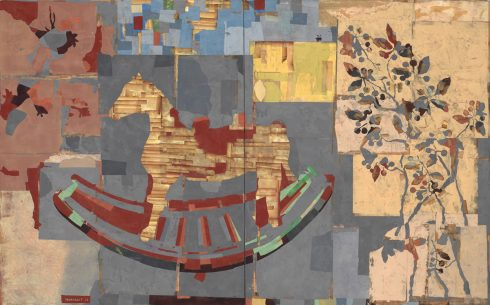 """Rocking Horse 48 X 76"""" Encaustic Collage And Paint On Canvas 2013"""