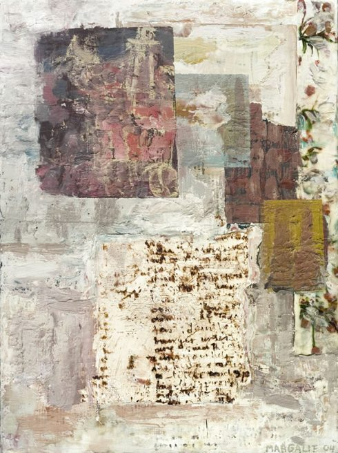 """Story Fragment 16 X 12"""" Encaustic Collage And Paint On Canvas 2006"""