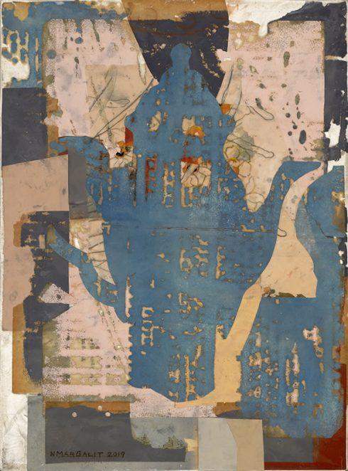 """Tea Pot 16 X 12"""" Encaustic Collage And Paint On Canvas 2019"""