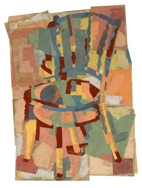 """The Beekeeper's Chair 31 X 22"""" Encaustic Collage And Paint On Paper 2020"""