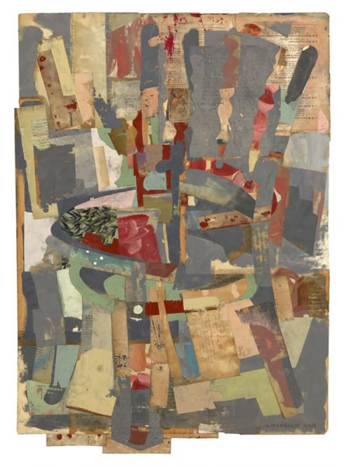 """The Bookkeeper's Chair 31 X 22"""" Encaustic Collage And Paint On Paper 2020"""