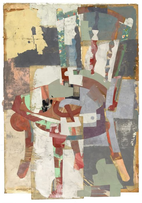 """The Philosopher's Chair 31 X 22"""" Encaustic Collage And Paint On Paper 2020"""