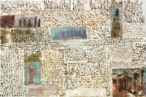 """Turning Back 16 X 24"""" Encaustic Collage And Paint On Canvas 2006"""