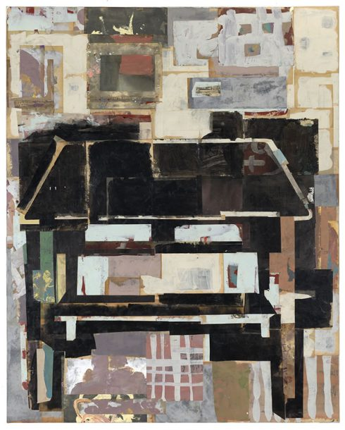 """Writer's Table 48 X 38"""" Encaustic Collage And Paint On Canvas, 2020"""