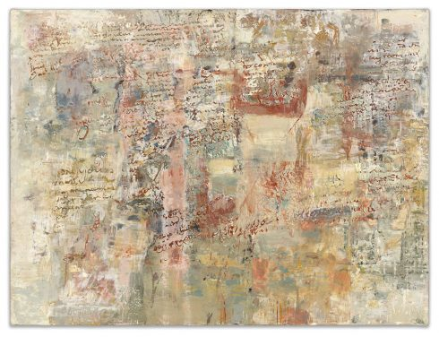 """Writings 24 X 32"""" Encaustic Collage And Paint On Canvas 2006"""